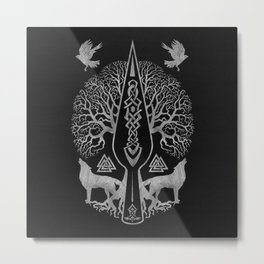 Gungnir - Spear of Odin and Tree of life  -Yggdrasil Metal Print