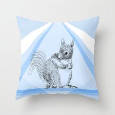 Squirrel stealing nuts Throw Pillow