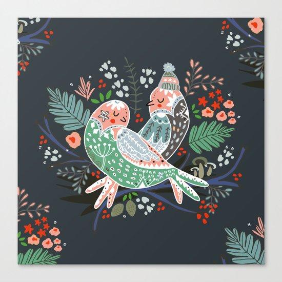 Holiday Birds Love Canvas Print