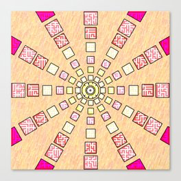 Ethnic wheel in pink Canvas Print