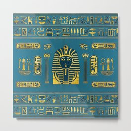 Gold Sphinx head with Egyptian hieroglyphs on blue leather Metal Print