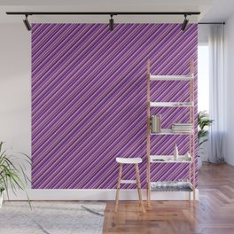 Lilac Purple Violet Inclined Stripes Wall Mural