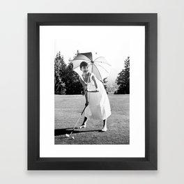 Audrey Hepburn Playing Golf, Black and White Vintage Art Framed Art Print
