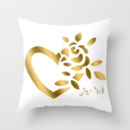 Gold Valentine Heart and Rose Throw Pillow