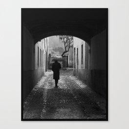 Man with umbrella Canvas Print