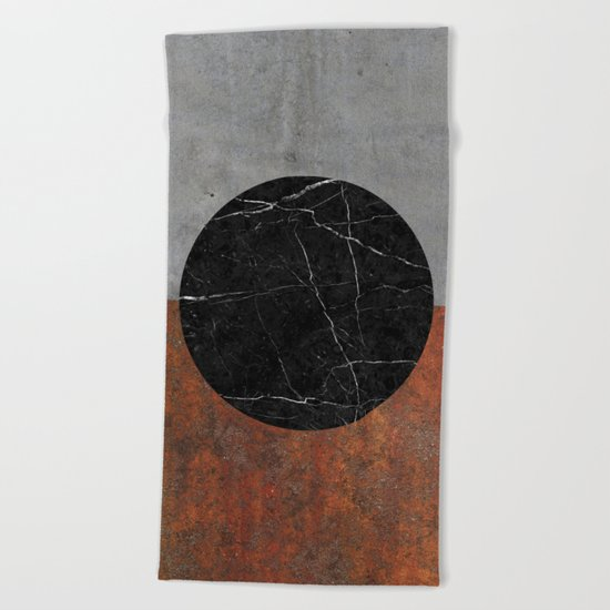Abstract - Marble, Concrete, Rusted Iron Beach Towel