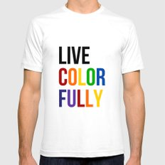 Live Colorfully with Rainbow Colors Mens Fitted Tee White SMALL