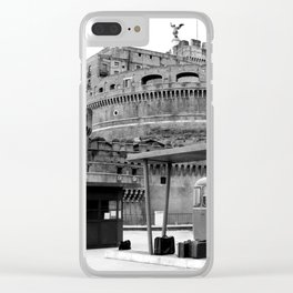 Castel Sant Angelo between past and present B/N Clear iPhone Case
