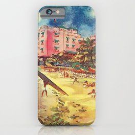 Hawaii's Famous Waikiki Beach landscape painting iPhone Case