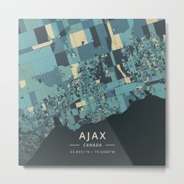 Ajax, Canada - Cream Blue Metal Print