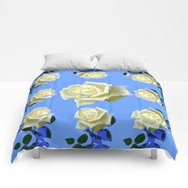 WHITE ROSES BLUE GARDEN DESIGN Comforters