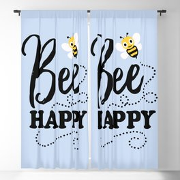 Bee Happy, Cute Fun Positive Quote Blackout Curtain