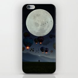 Human facing the moon and balloons by GEN Z iPhone Skin