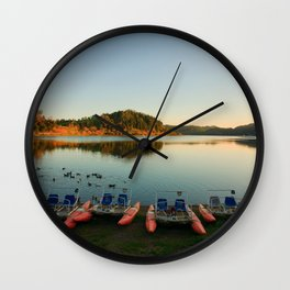 Furnas lake at sunset Wall Clock