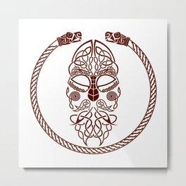 Knotted Viking Dragon Circle Metal Print