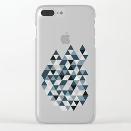Sea Blue and Grey / Gray - Hipster Geometric Triangle Pattern 02 Clear iPhone Case