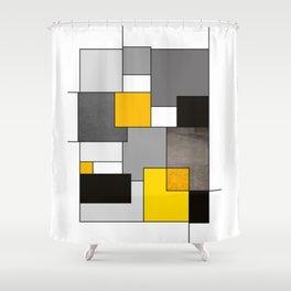 Black Yellow and Gray Geometric Art Shower Curtain