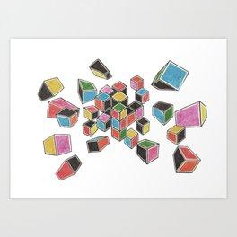 Exploded Rubik's Cube Art Print