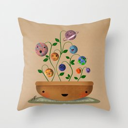 Planets Plant Throw Pillow