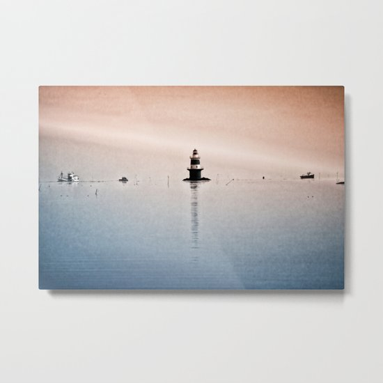 Fishing Near The Lighthouse Metal Print
