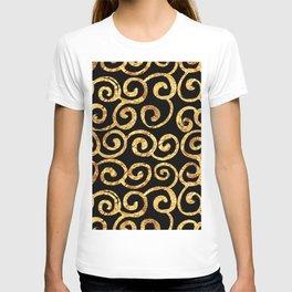 Gold Swirls on Black Background T-shirt