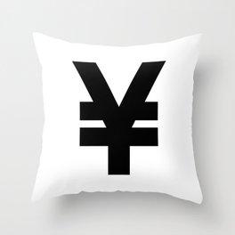 Yen Sign (Black & White) Throw Pillow