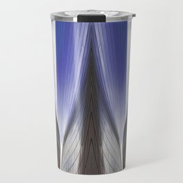 Architectural abstract of a metal clad building looming in symmetry. Travel Mug