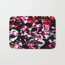 psychedelic geometric triangle polygon abstract pattern in red pink black Bath Mat