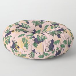 Cats and Houseplants Floor Pillow