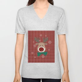 Deer. Patchwork Unisex V-Neck