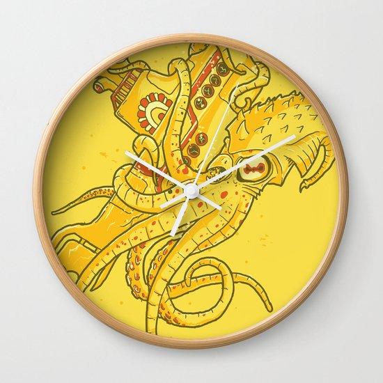 the Yellow Kracken Wall Clock