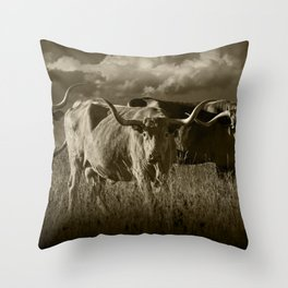 Sepia Tone of Texas Longhorn Steers under a Cloudy Sky Throw Pillow