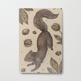 The Squirrel and Chestnuts Metal Print