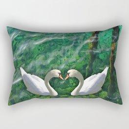 Two swans inOhrid lake Rectangular Pillow