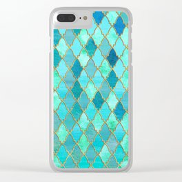 Aqua Teal Mint and Gold Oriental Moroccan Tile pattern Clear iPhone Case