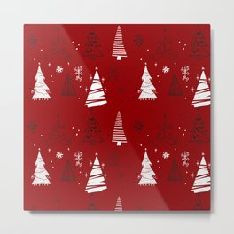 Red and White Hand Drawn Christmas Trees Pattern Metal Print