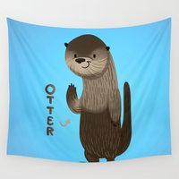 otter Wall Tapestries featuring Hello Otter by ericbennettart