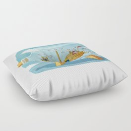 AIRSHIP IN A BOTTLE Floor Pillow