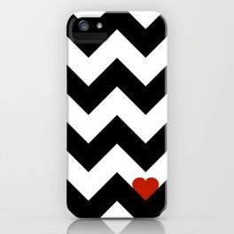 Heart & Chevron - Black/Classic Red iPhone Case