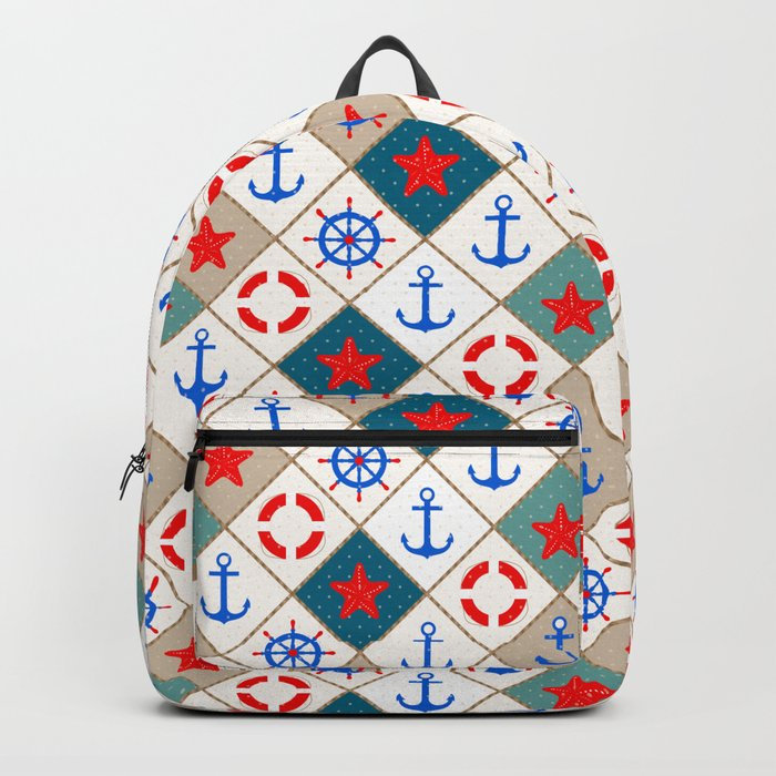 Nautical pattern . 1 Backpack
