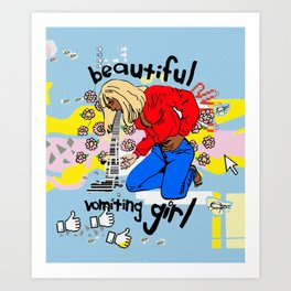 Beautiful Vomiting Girl Art Print