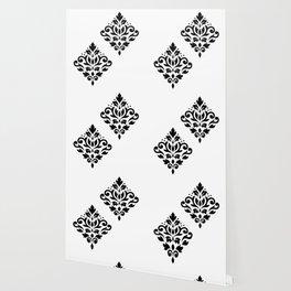 Scroll Damask Art I Black on White Wallpaper