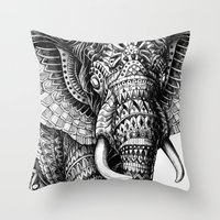 ornate Throw Pillows featuring Ornate Elephant v.2 by BIOWORKZ