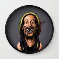 marley Wall Clocks featuring Celebrity Sunday - Robert Nesta Marley by rob art | illustration