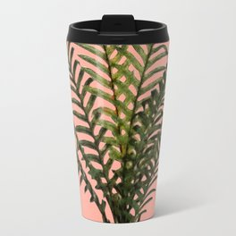 Palm Plant on Pastel Wall Travel Mug