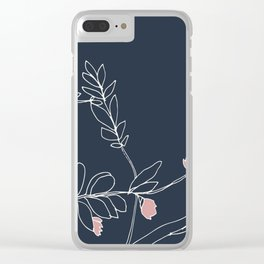 Flora, White and Pink on Navy Blue Clear iPhone Case