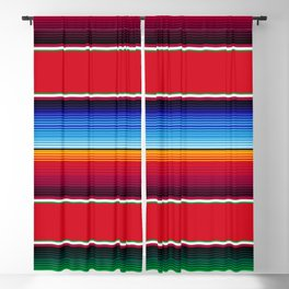 Traditional Mexican Serape in Red Multi Blackout Curtain