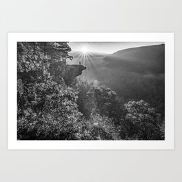 Hawksbill Crag Mountain View At Sunrise - Black and White Art Print