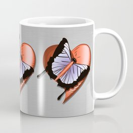 Beautiful butterfly and heart on polished metal textured background Coffee Mug