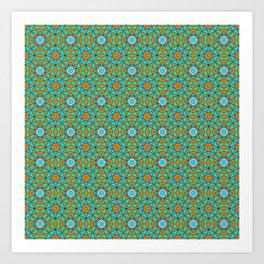 Moroccan Tile 1A - Blue Art Print